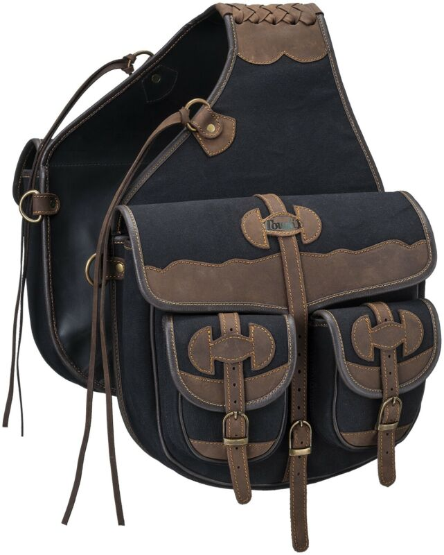 Western Saddle Canvas and Leather Trail Riding Saddle Bags - 3 Color Choices