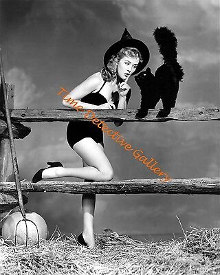 Halloween Pin-up Girl Whispering to a Black Cat - 1950 - Vintage Photo Print