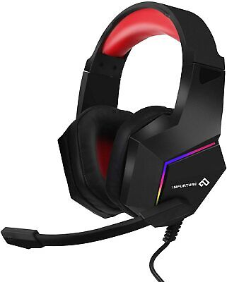 Infurture Gaming Headset Bass Surround Sound Computer Headset Crystal Clear Mic