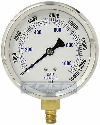 Liquid Filled Pressure Gauge 0-15000 Psi 4 Face 14 Lower Mount