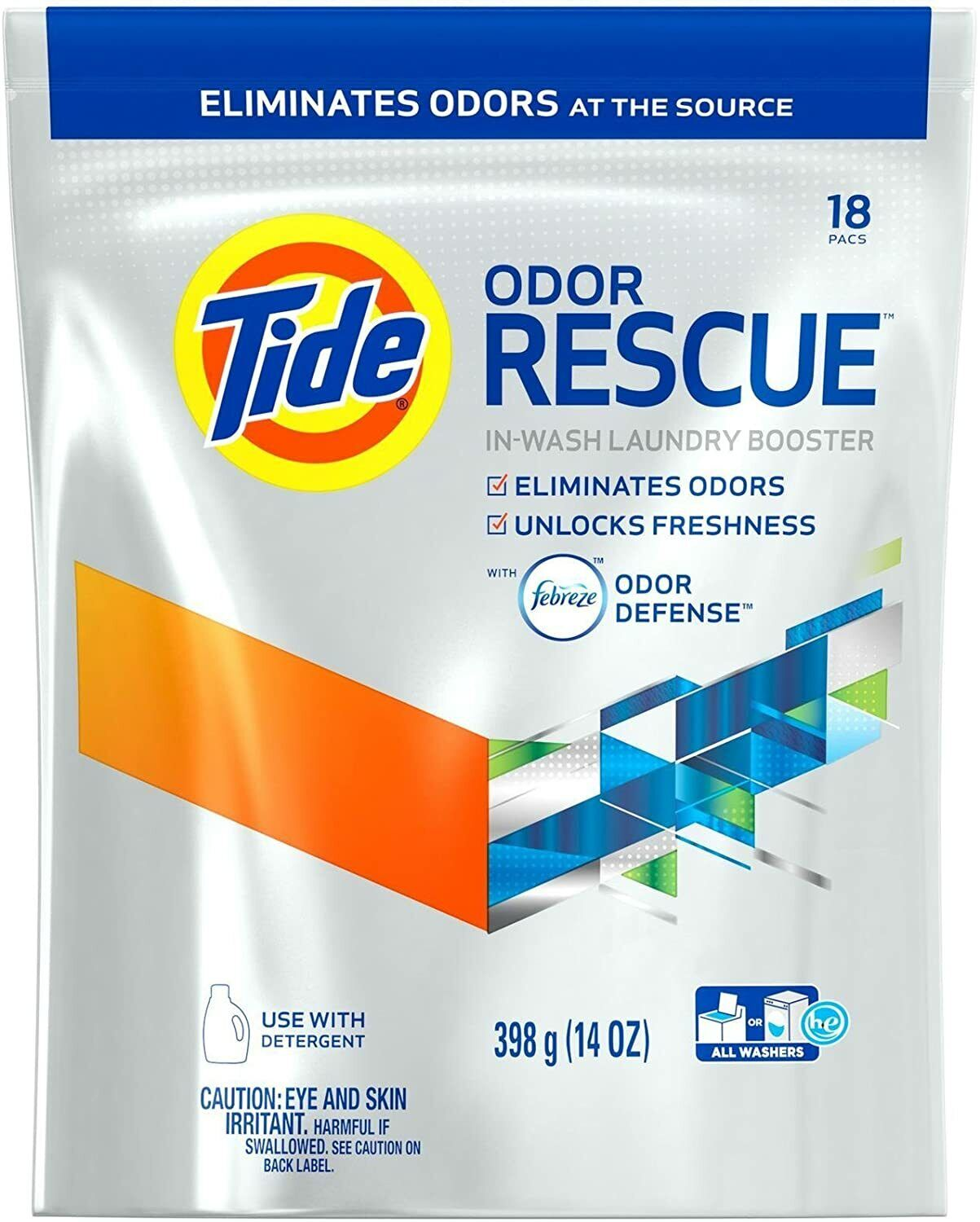 Tide Laundry Booster Odor Rescue Pods Febreze Odor Defense 18 Pack Detergents, Softeners & Stain Removers