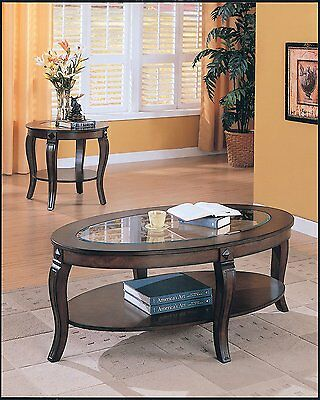 Acme Furniture 00450 Riley Glass Top Oval Coffee Table, Walnut Finish NEW