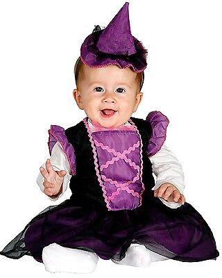 Baby Mädchen Lila Hexe Halloween Kostüm Kleid Outfit 6-12 & 12-24 Monate ()