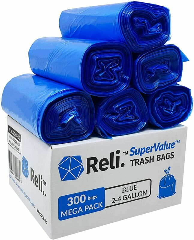 Reli. SuperValue 2-4 Gallon Recycling Bags (300 Count Bulk) Blue Trash Bags