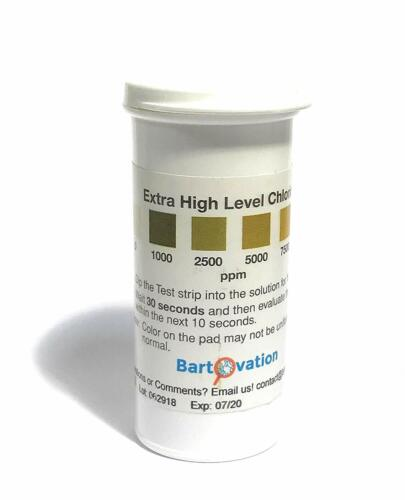 Extra High-Level Chlorine Test Strips, 0 to 10,000 ppm; 100/Pk