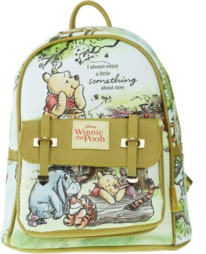 """Deluxe Disney Winnie The Pooh 11"""" Faux Leather Mini Backpack - yellow"""