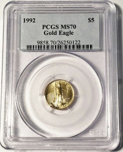 1992 $5 GOLD EAGLE PCGS MS70 POP 26 * Low Mintage * OLD BLUE LABEL