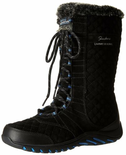 Skechers Women's Descender Winter Boot, Black, 6.5 M US