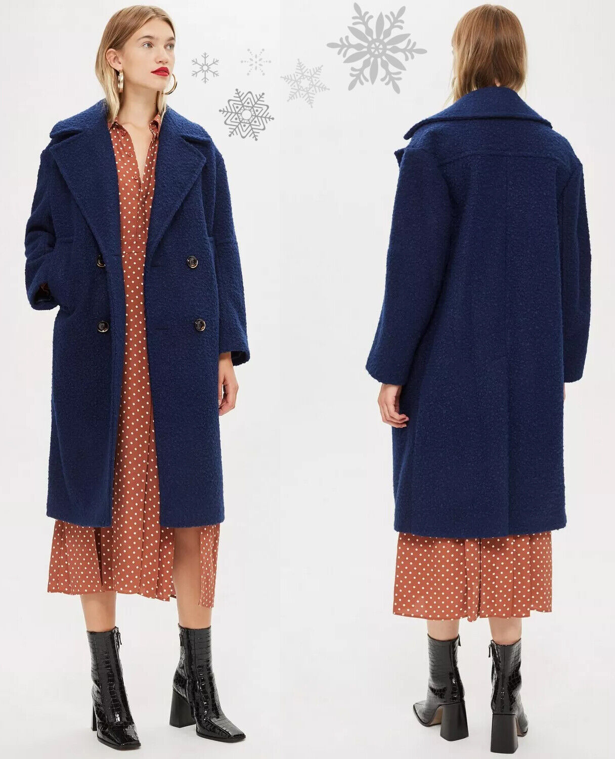 Details about OASIS Lily Double Breasted Warm Coat Winter Jacket in Navy