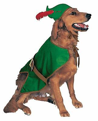 Robin Hood Dog Costume - LARGE - Vest, Hat w/ Feather - Halloween - Rubie's -NWT (Robin Dog Costume)