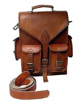 Neue Männer Frauen Vintage Leder Rucksack Schulranzen Laptop -Umhängetasche ()