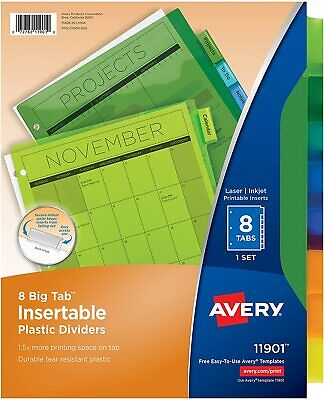 Avery 8-tab Plastic Binder Dividers Insertable Multicolor Big Tabs 1 Set