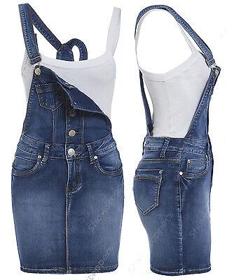 be84aa2e839 NEW Womens Denim Dungaree Dress Ladies Jean Pinafore Skirt Blue Sizes 8 10  12 14