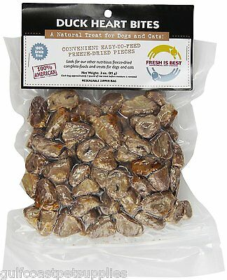 Fresh is Best Freeze Dried Raw Whole Duck Heart Treats for Dogs/Cats 3oz -3 (Best Treat Bags For Dogs)