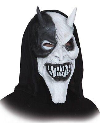 Herren Weiß Black Evil Devil mit Kapuze Latex Halloween Kostüm (Black Devil Halloween Kostüm)