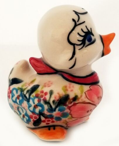 Polish Pottery Easter Chick with Pink Flower