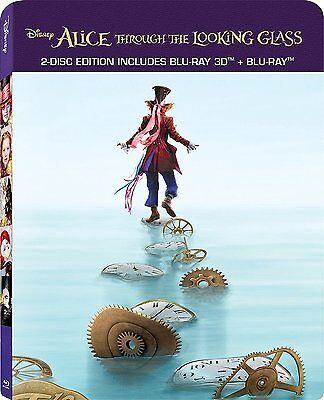 Alice Through The Looking Glass  Steelbook   Blu Ray 3D   Blu Ray   2 Disc  New