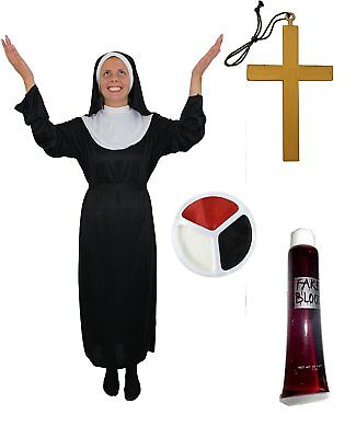ZOMBIE NONNEN KOSTÜM HEILIGE HALLOWEEN KOSTÜM VERKLEIDUNG KIRCHLICH KARNEVAL - Heiligen Halloween Kostüm