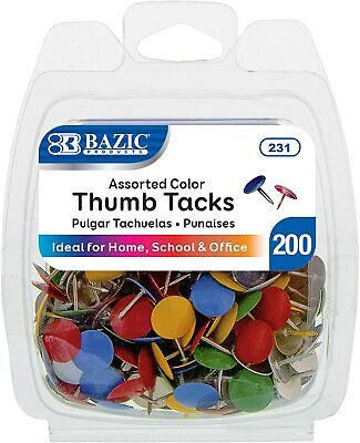 Bazic Assorted Color Steel Push Pins Thumb Tacks 38 Inch Flat Head Push Pin Th