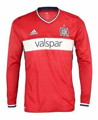 Adidas MLS Soccer Men's Chicago Fire Long Sleeve Authentic Jersey Fire Long Sleeve Jersey
