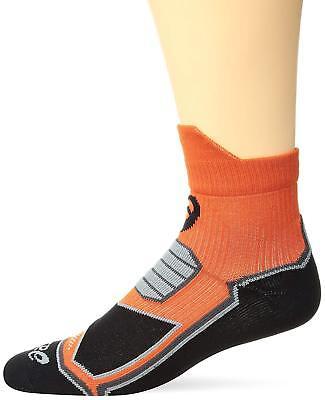 ASICS Unisex X-Over Quarter Mini Crew - Orange/Black - Size XL Crew Mini Ankle Socks