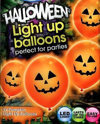 Pumpkin illoom Balloons - spooky orange LED light up Halloween balloons - 5 pack