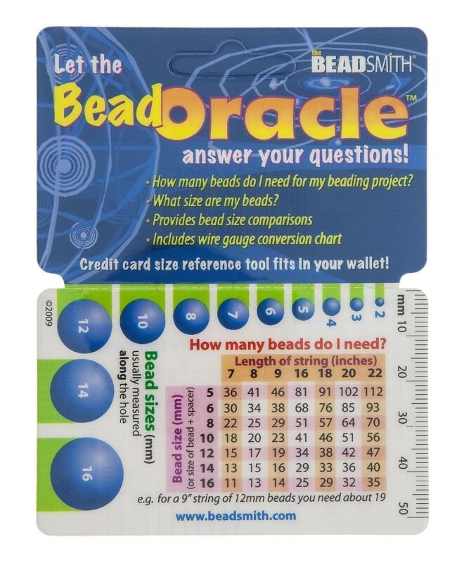1 Oracle Wallet Beading Reference Card for Bead Charts & Sizes