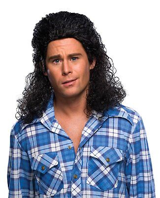 Curly Black Mullet Wig Adult Mens Kenny Powers A.C. Slater Saved By Bell Costume - Mullet Wigs