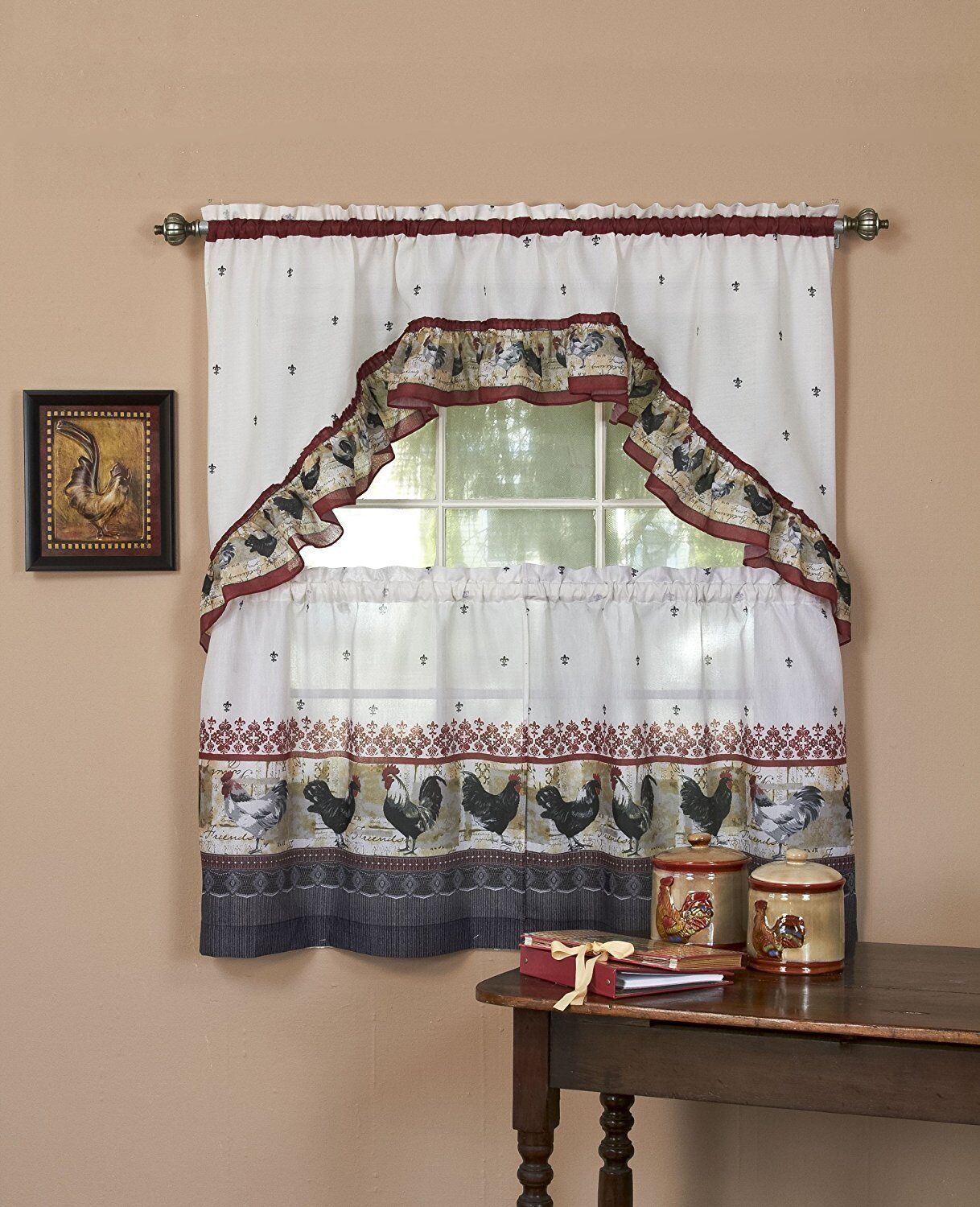 Rooster Complete Kitchen Curtain Tier and Swag Set - Assorte