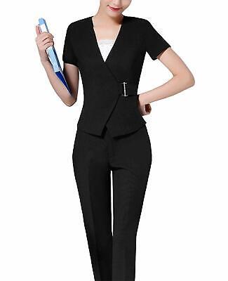MFrannie Womens Short Sleeve Blazer Pant Camisole Business Office Suit (Short Sleeve Suits Womens)