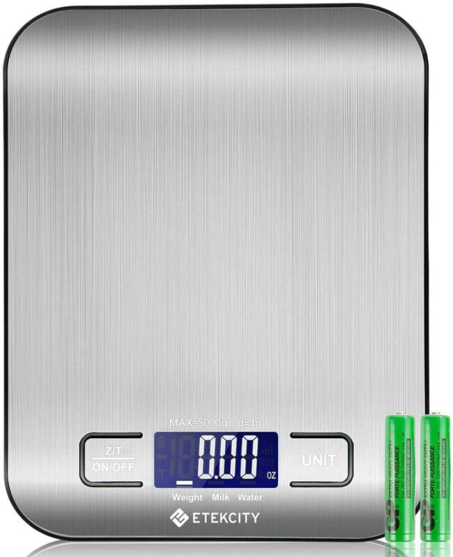 ETEKCITY Bilancia da cucina digitale elettronica 5 kg con ampio display LCD,...
