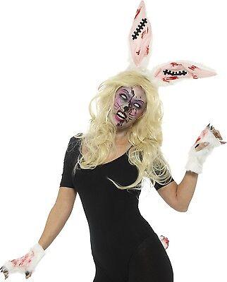 Halloween De Terror (de zombie para Dama CONEJITO Halloween Terror INSTANTE Accesorio Disfraz Kit)
