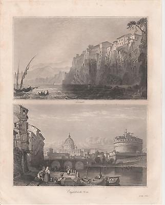 Washington Landsitz Mount Vernon Capitol LITHOGRAPHIE von 1845
