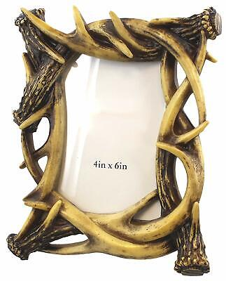 Rustic Faux Deer Antler Shed Decor 4 x 6 Picture Photo Frame