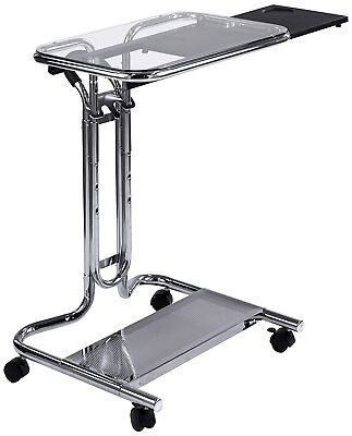 Rolling Laptop Cart Computer Stand Clear Glass Mobile Workstation Mouse Tray (Glass Computer Cart)