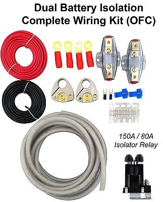 HEAVY DUTY DUAL BATTERY ISOLATOR KIT+COPPER WIRE+TERMINALS+FUSE HOLDER  RK48OFC ()