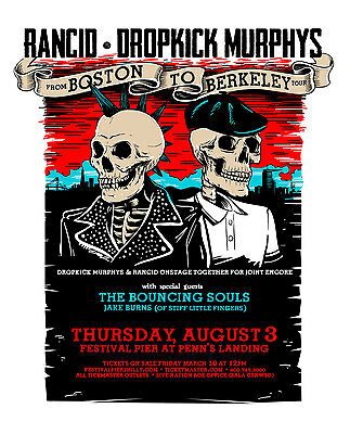 RANCID /DROPKICK MURPHYS 2017 PHILADELPHIA CONCERT TOUR POSTER-Celtic Punk Music