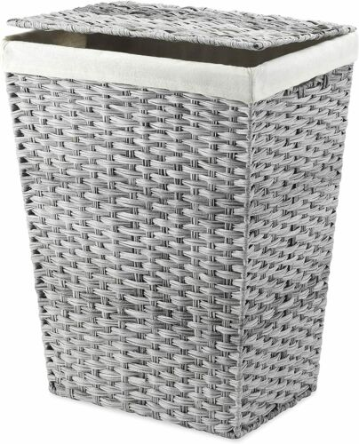 Liner and Lid Laundry Hamper, Gray Wash
