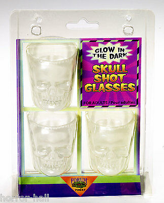 Gothic Skeleton Head GLOW SKULL SHOT GLASSES Bar Drink Pirate Decoration-3pc SET - Halloween Bar Shots