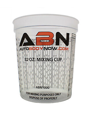 Shopify Only    Abn Clear Plastic Paint Mixing Cup 32Oz Ounce   946Ml Milliliter