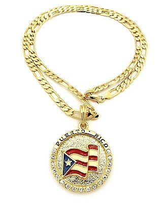 """NEW PUERTO RICO FLAG PENDANT 5mm/24"""" FIGARO CHAIN NECKLACE X"""