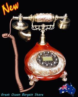 Retro Vintage Antique Style Home Push Button Dial Desk Telephone