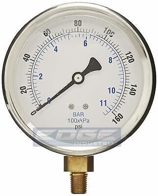 Liquid Filled Pressure Gauge 0-160 Psi 4 Face 14 Lower Mount