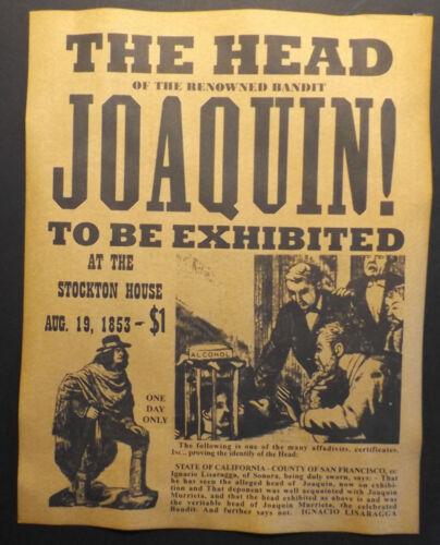 Head of Joaquin Murrieta Displayed Ad Poster, Old West, Murieta Murietta, wanted