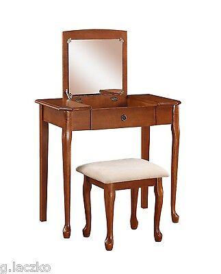 Vanity Set Table Dresser Wood Cherry Finish Seat White Mirror Vintage Drawer New Cherry Finish Wood Vanity