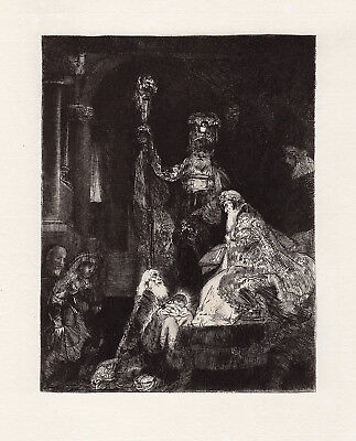 """50% SALE    1800's REMBRANDT Etching B50 """"Presentation in the Temple"""" FRAMED COA"""