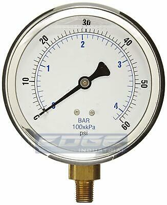 Liquid Filled Pressure Gauge 0-60 Psi 4 Face 14 Lower Mount