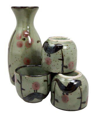 5 PCS. Japanese Porcelain Cherry Blossom Sake Bottle Cups Gift Set Made in Japan Cherry Blossom Sake Set