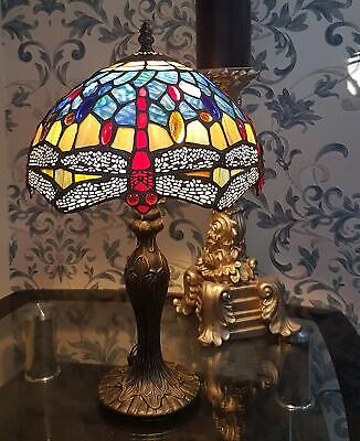 DRAGONFLY TIFFANY STYLE STAINED GLASS TABLE LAMP 10