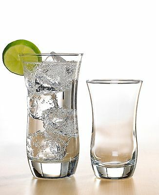 Curved Glasses 16 Piece Glass Set, Drinking ...